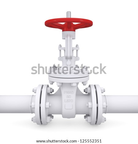 Valve on the pipeline. Isolated render on a white background - stock photo