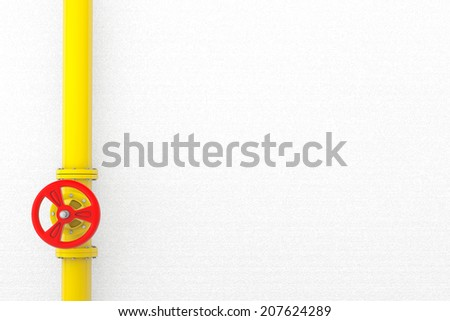 Valve with gas pipeline in front of a wall - stock photo