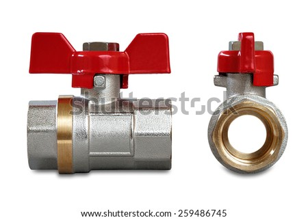 Valves for hot water isolated on a white background - stock photo