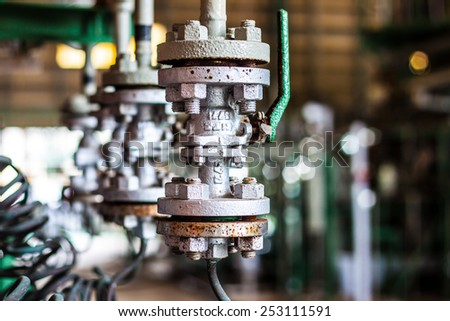 valves of air in factory - stock photo