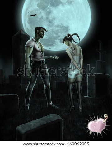 Vampire gives his beloved ring on cemetery at night - stock photo