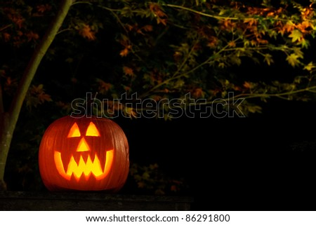 Vampire jack-o-lantern outside at night - stock photo