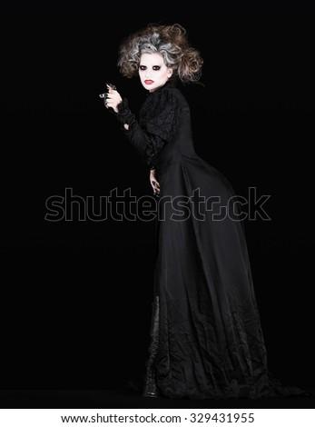 vampire woman with black gothic costume halloween concept - stock photo