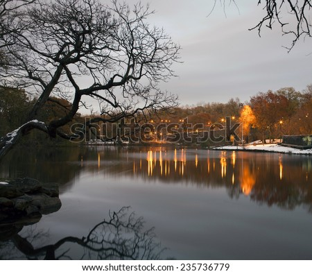 Van Cortlandt Park in the County of the Bronx, New York in winter. - stock photo