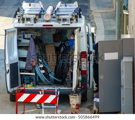 van equipped for electricity and telephone repairs