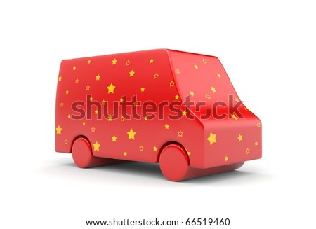 Van in stars. Christmas edition - stock photo