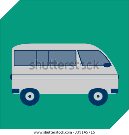 Van isolate on green background
