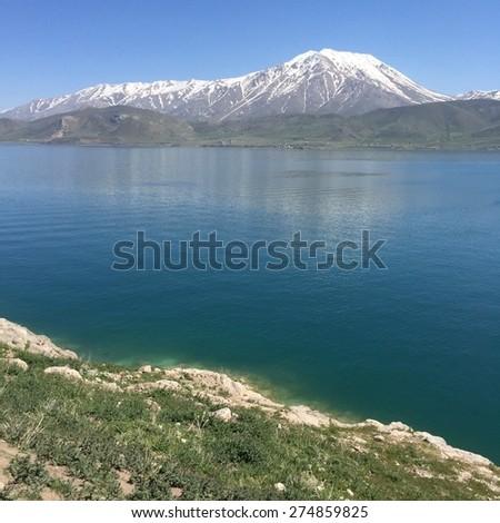 van lake is the largest lake in Turkey - stock photo