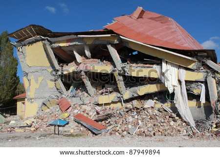 VAN, TURKEY-NOVEMBER 1: Earthquake damage in the Gedikbulak Village in Van, Turkey. November 1, 2011.