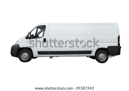Van under the white background - stock photo