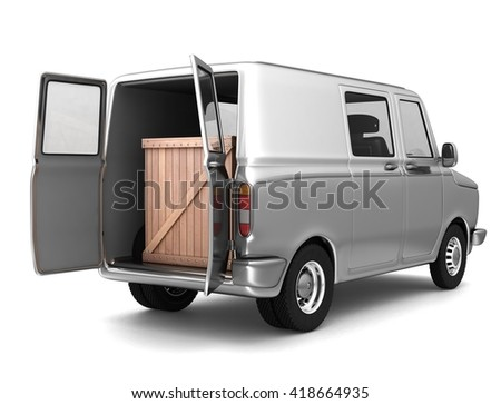 Van with a wooden box in the back. 3d illustration. Isolated on white