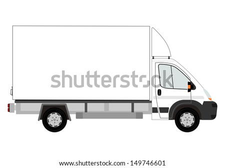 Van with space for any text on a white background. - stock photo