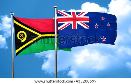 Vanatu flag with New Zealand flag, 3D rendering