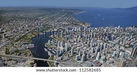 Vancouver Aerial, False Creek, Downtown, Kitsilano and Point Grey - stock photo