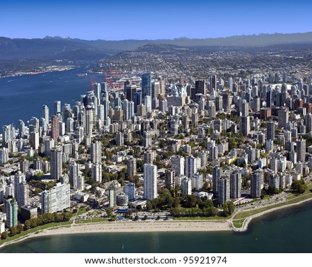 Vancouver - Aerial Metro Vancouver, BC, West End and downtown, British Columbia, Canada - stock photo