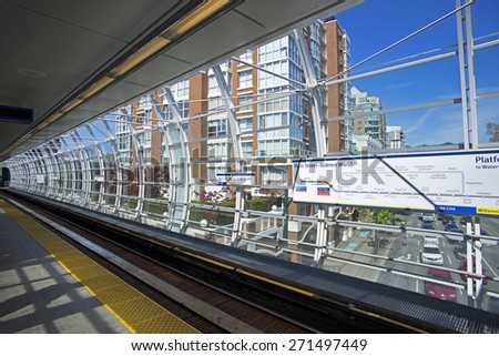 VANCOUVER - APRIL 19, 2015: Main Street-Science World, the oldest station on TransLink rapid transit system was reconstructed and re-opened for Expo and Millennium Line trains. British Columba, Canada - stock photo