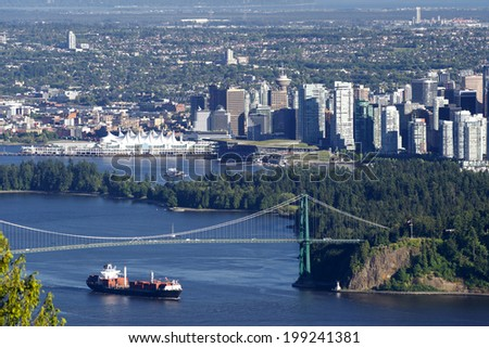 Vancouver, B.C. - panoramic view with Canada Place, Burrard Inlet, Coal Harbour, Lions Gate Bridge, downtown and Stanley Park - stock photo