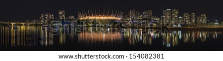 Vancouver BC Canada City Downtown Skyline NIght Scene Panorama - stock photo