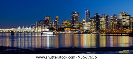 Vancouver BC Canada City Skyline Reflection at Blue Hour Panorama - stock photo