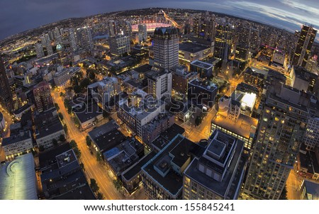 Vancouver BC Canada Downtown at Blue Hour Fisheye View - stock photo