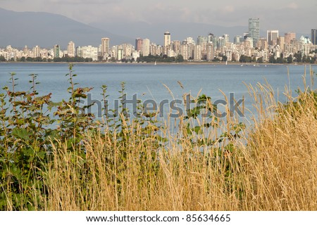 Vancouver BC Canada Downtown City Skyline from Hasting Mills Park - stock photo
