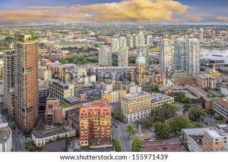 Vancouver BC Canada Downtown Cityscape with Victory Square Aerial View - stock photo