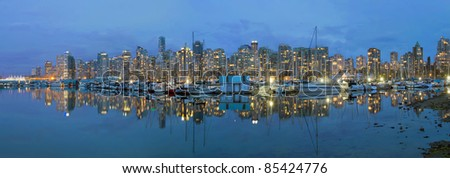 Vancouver BC Canada Downtown Harbor Skyline at Blue Hour Panorama - stock photo