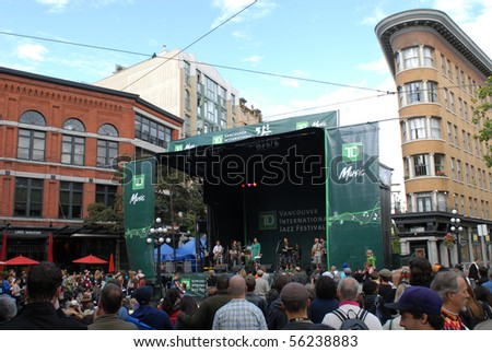"""VANCOUVER, BC, CANADA - JUNE 27: New Zealand band """"Opensouls"""" performs during Vancouver International Jazz Festival on June 27, 2010 in Gastown, Vancouver, BC, Canada - stock photo"""