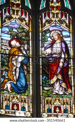 VANCOUVER BC CANADA JUNE 12 2015: Stained glass window of Metropolitan Cathedral of Our Lady of the Holy Rosary is  French Gothic church as the cathedral of the Roman Catholic Archdiocese of Vancouver