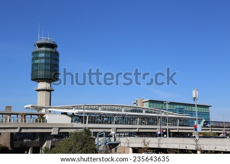 Vancouver, BC Canada - September 13, 2014 :Air Traffic Control tower at YVR airport in Vancouver BC Canada. - stock photo