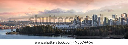 Vancouver BC City Skyline and Stanley Park along Burrard Inlet Panorama - stock photo