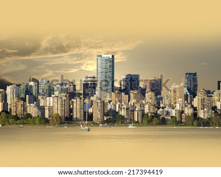 Vancouver, BC - in golden colours, Canada - stock photo