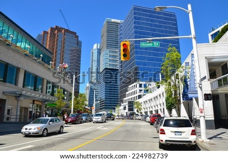 VANCOUVER, CA - JULY 27: Downtown Vancouver Modern Architecture, and Lifestyle on July 27 , 2014 in Vancouver, CA. Vancouver has prominent buildings in a variety of styles by many famous architects - stock photo