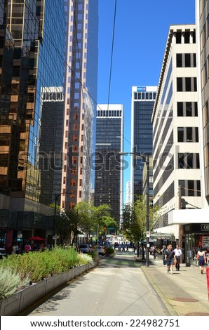 VANCOUVER, CA - JULY 27: Downtown Vancouver Modern Architecture, and Lifestyle on July 27 , 2014 in Vancouver, CA. Vancouver has prominent buildings in a variety of styles by many famous architects