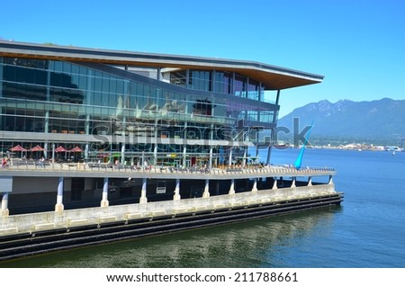 VANCOUVER, CA - JULY 28: Vancouver convention Center on July 28, 2014 in Vancouver, Canada. Famous new Vancouver Convention Centre, it has many stores ,restaurants ,and entertainment for the public. - stock photo