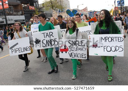 VANCOUVER, CANADA - APRIL 22, 2012: Thousands of people took part in Earth Day Parade and marched through the streets of Vancouver, Canada, on April 22, 2012.