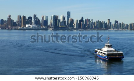 Vancouver Canada cityscape with sea bus. - stock photo