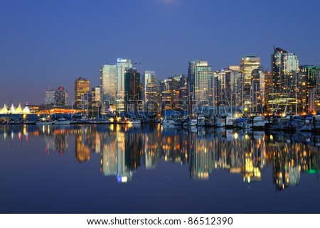 Vancouver Canada evening cityscape - stock photo