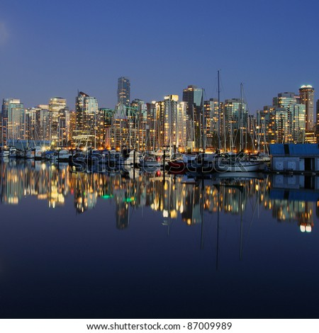 Vancouver Canada evening cityscape - stock photo