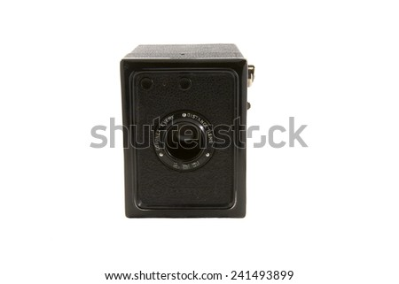 Vancouver, Canada - January 2, 2015: A Coronet Every camera isolated on white. The Every was introduced in the 1930's. The Coronet Camera Company was an English company most noted for its box cameras.