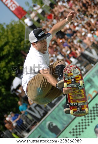 VANCOUVER, CANADA - JULY 12, 2014: Athletes compete in the 2014 Van Doren Invitational skateboard competition in Vancouver, Canada, on July 12, 2014.