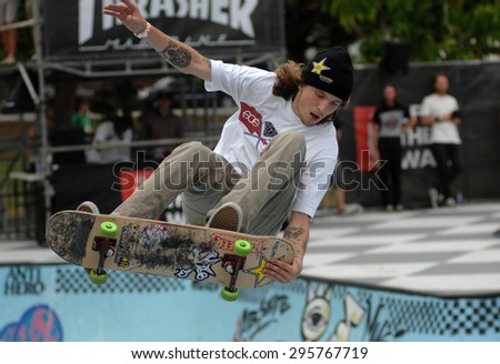 VANCOUVER, CANADA - JULY 10, 2015: Athletes compete in the Van Doren Invitational skateboard competition in Vancouver, Canada, on July 10, 2015. - stock photo