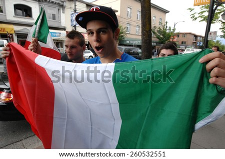 VANCOUVER, CANADA - JULY 1, 2012: Italian fan shows his colors during the final match of EURO 2012 Italy vs. Spain on July 1, 2012  in Vancouver, Canada. - stock photo