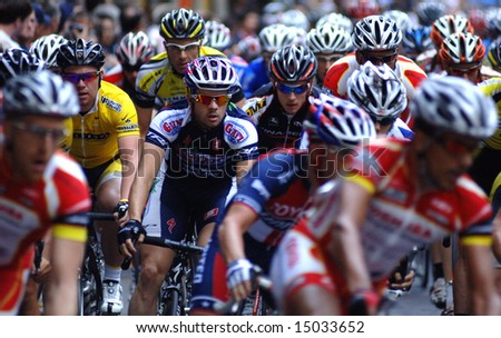 "Vancouver, Canada, 16 July 2008: Men compete in annual ""Tour de Gastown"" Bicycle Race"