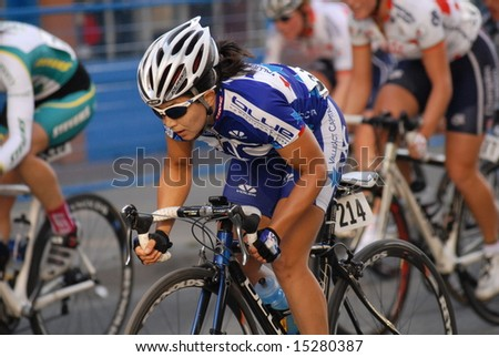 "Vancouver, Canada, 16 July 2008: Women compete in annual ""Tour de Gastown"" Bicycle Race"