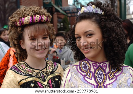 VANCOUVER, CANADA - MARCH 16, 2008: Hundreds of colorfully dressed people took part in St. Patrick's Day celebration in Vancouver, Canada, on March 16, 2008. - stock photo