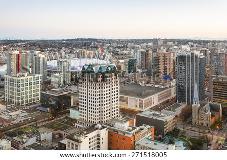 Vancouver, Canada - March 09: View of the city from Vancouver Lookout on March 09, 2015  in Vancouver, Canada.