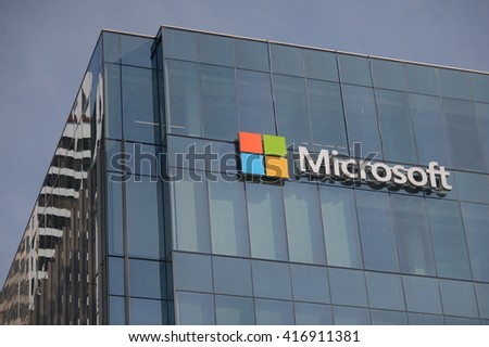 VANCOUVER, CANADA - MAY 7, 2016: Microsoft sign adorns new office building housing computer giant's office in Vancouver, Canada, May 7, 2016.