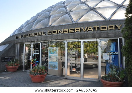VANCOUVER, CANADA - MAY 21: The Bloedel Conservatory in Vancouver, British Columbia, Canada, as seen on May 21, 2010. It is located at the top of Queen Elizabeth Park. - stock photo