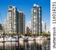 VANCOUVER, CANADA - MAY 16: View at Yaletown from False Creek on May 16, 2007 in Vancouver, Canada. Yaletown was industrial area, but transformed into a populated neighbourhood after EXPO in 1986. - stock photo